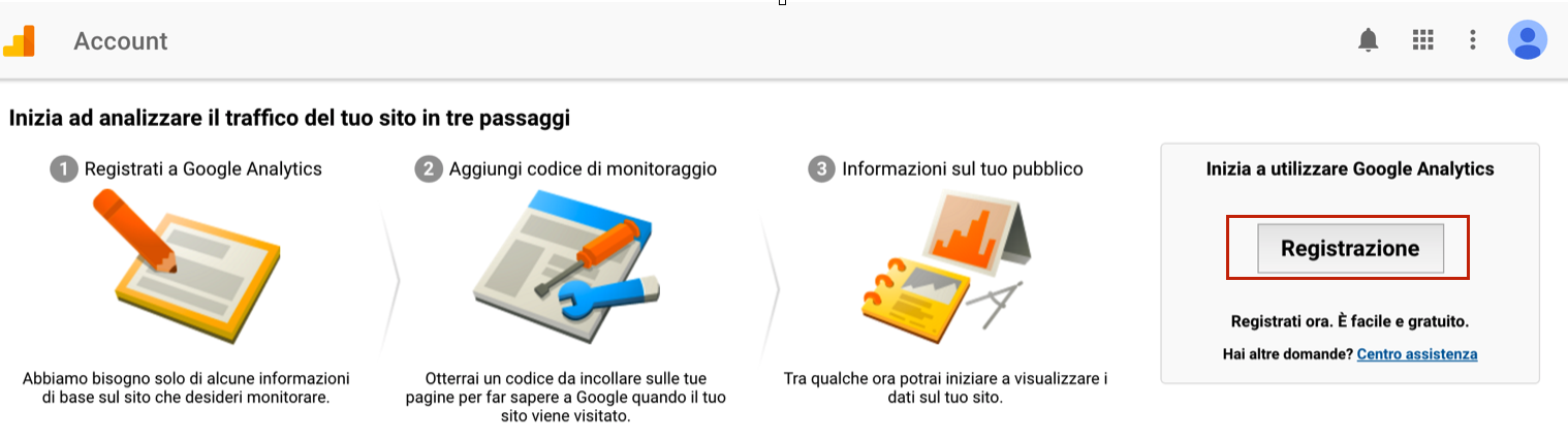 registrazione google analytics