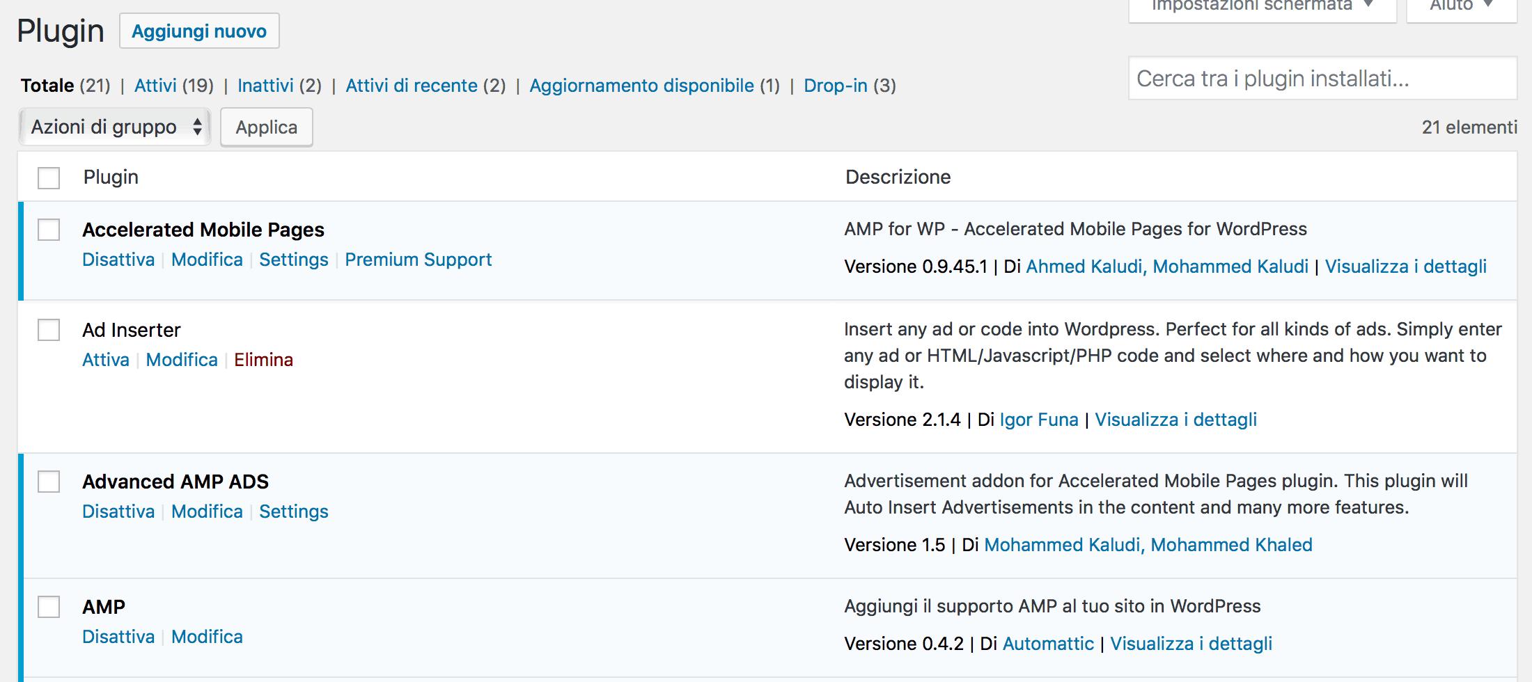 installazione plugin AMP