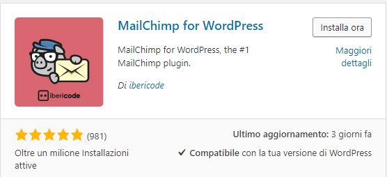 Mailchimp plugin per wordpress