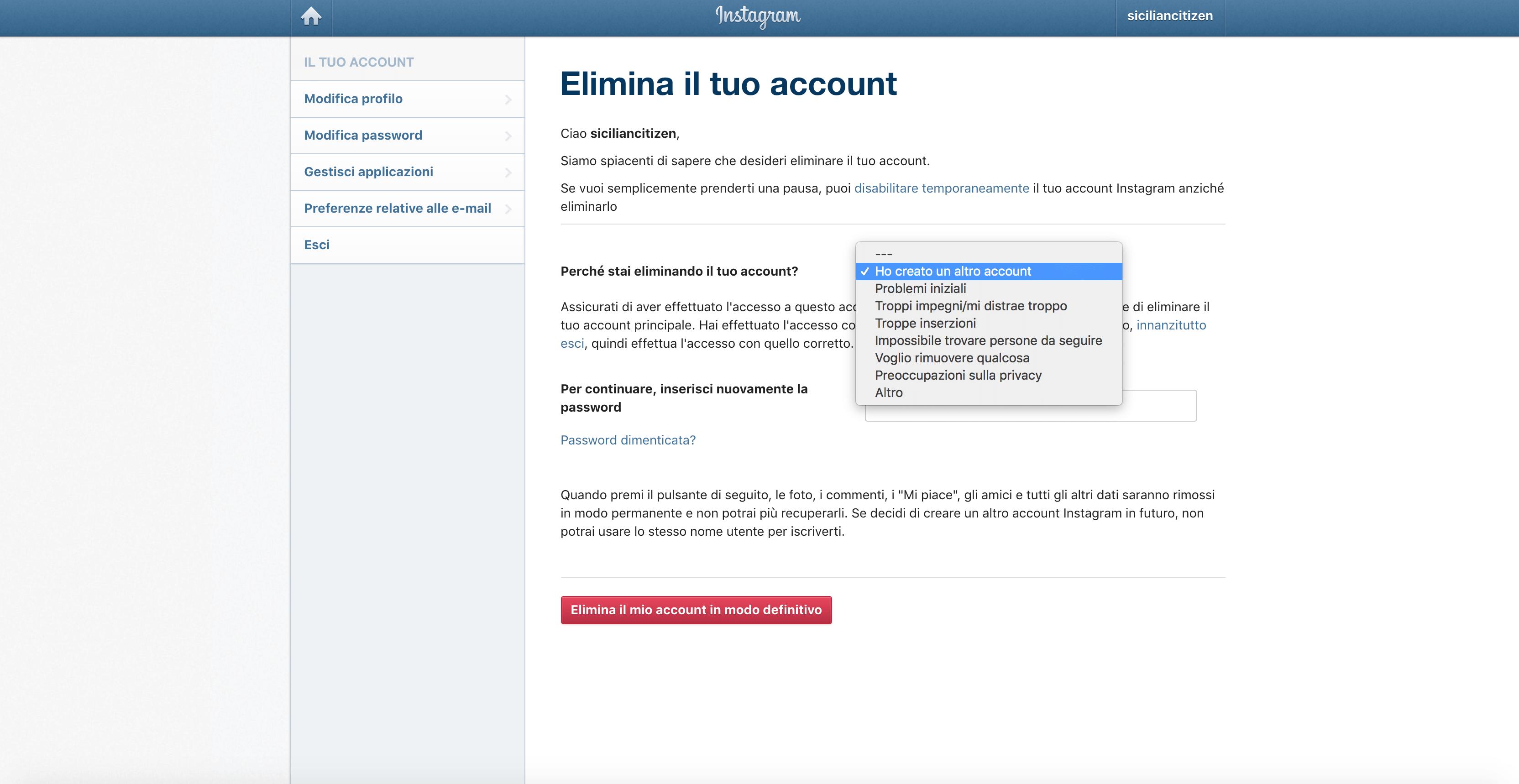 eliminare account tendina