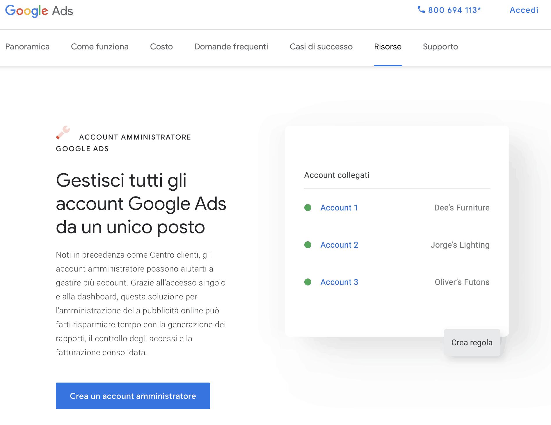 creazione account gestore clienti