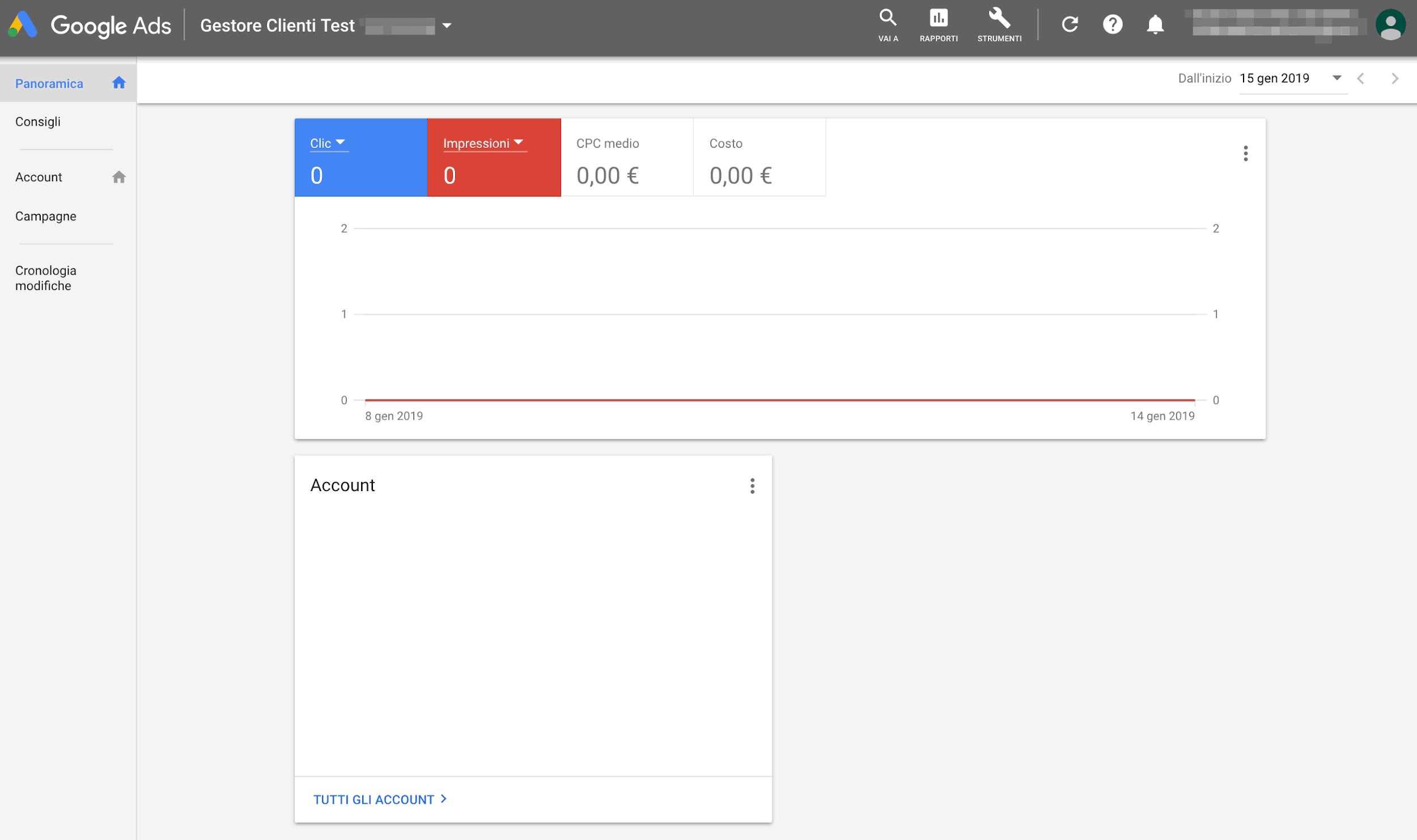 schermata iniziale account gestore clienti