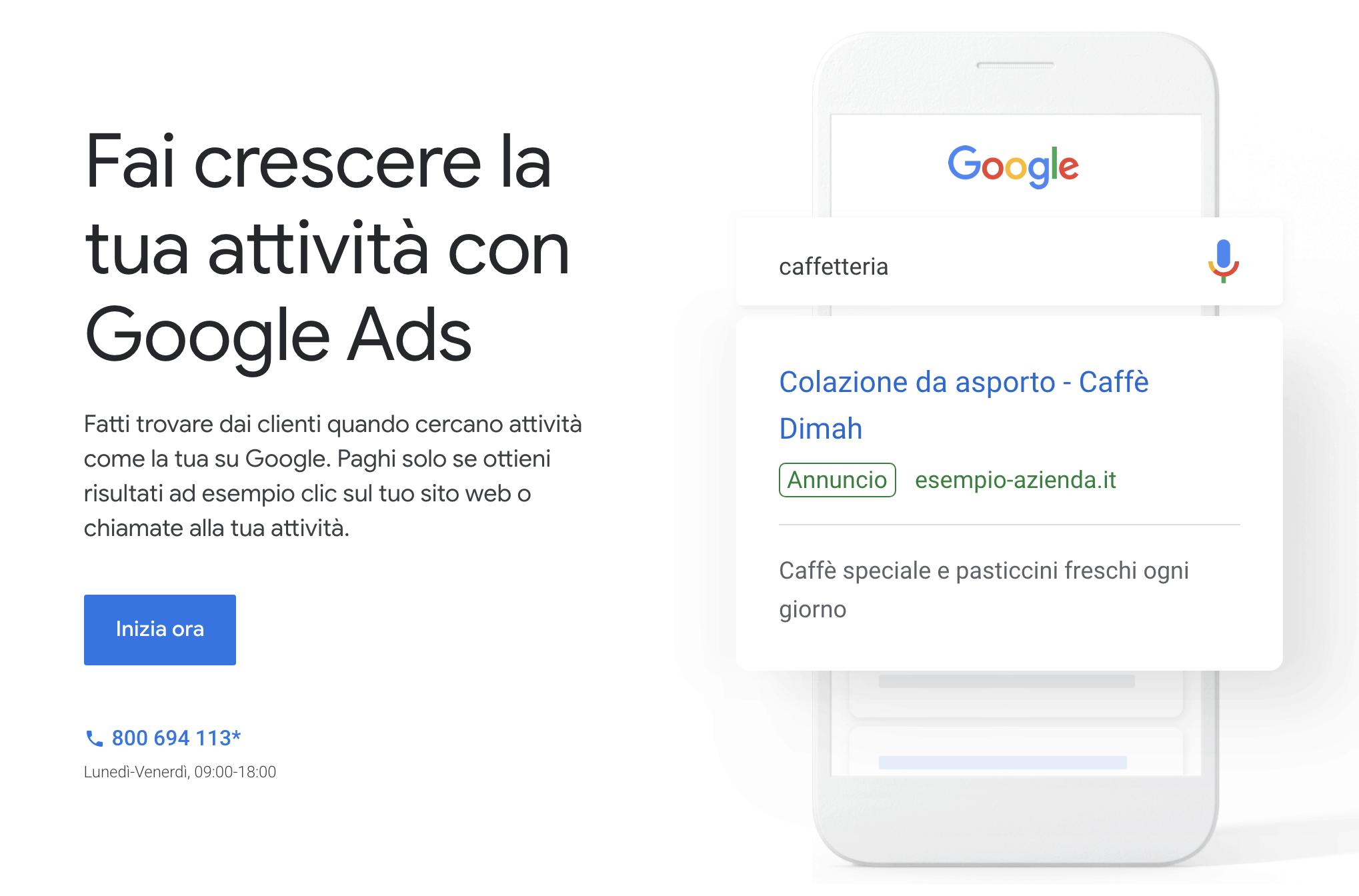 schermata iniziale creazione account google ads