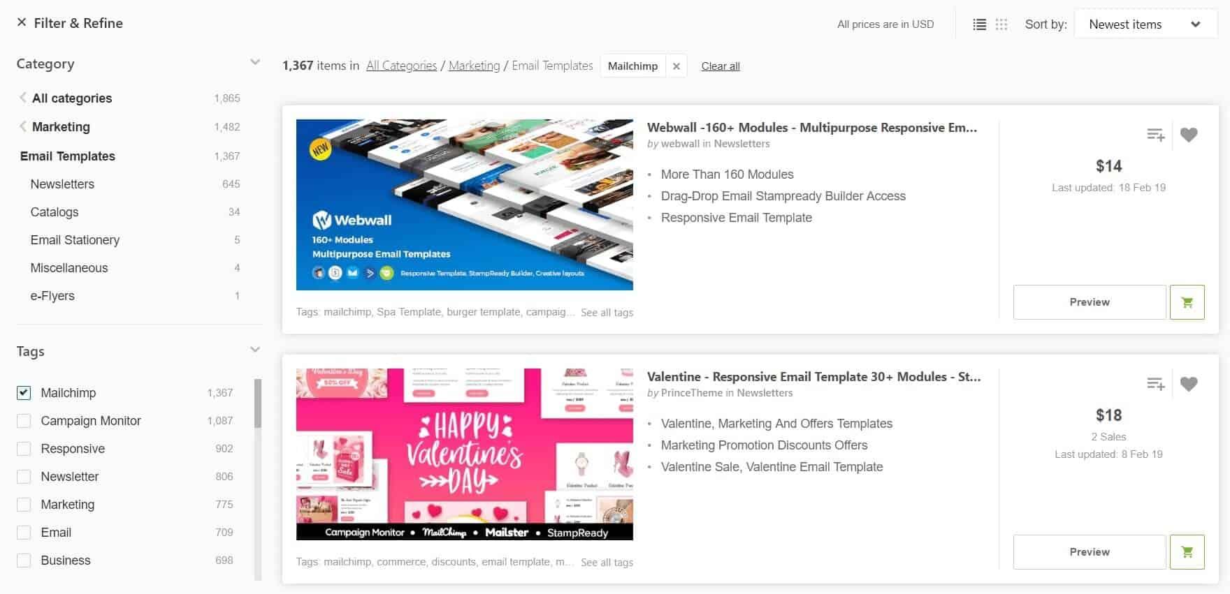 La pagina categoria themeforest dei temi per mailchimp