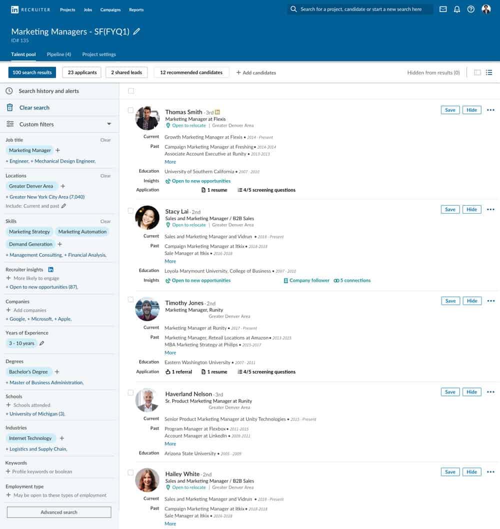 Linkedin Recruiter Pipeline