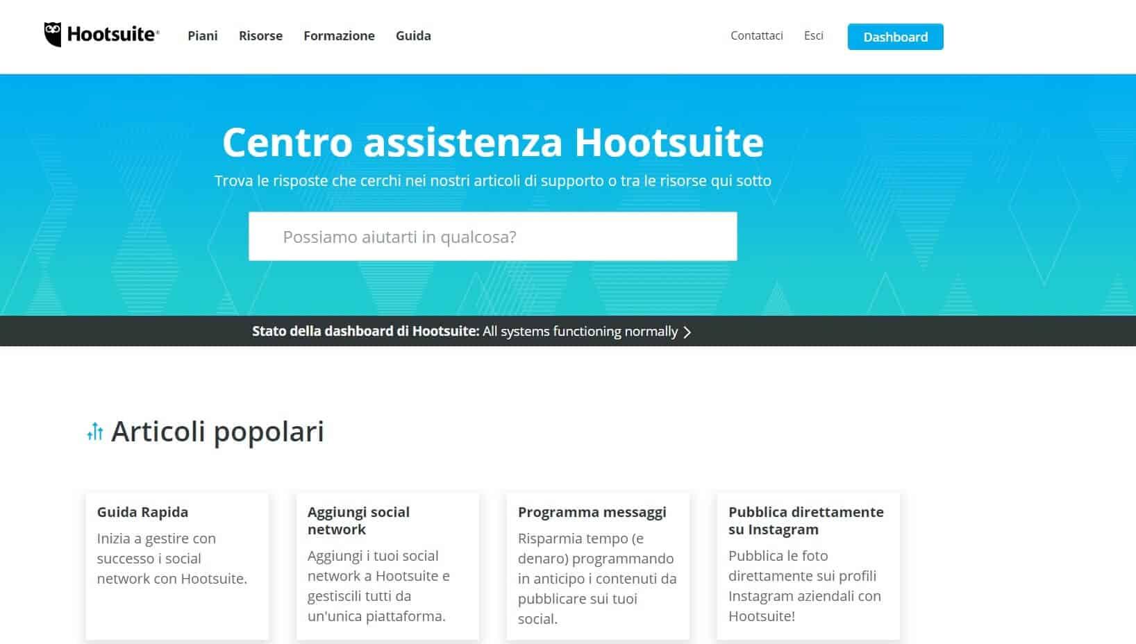 la homepage dell'assistenza di hootsuite