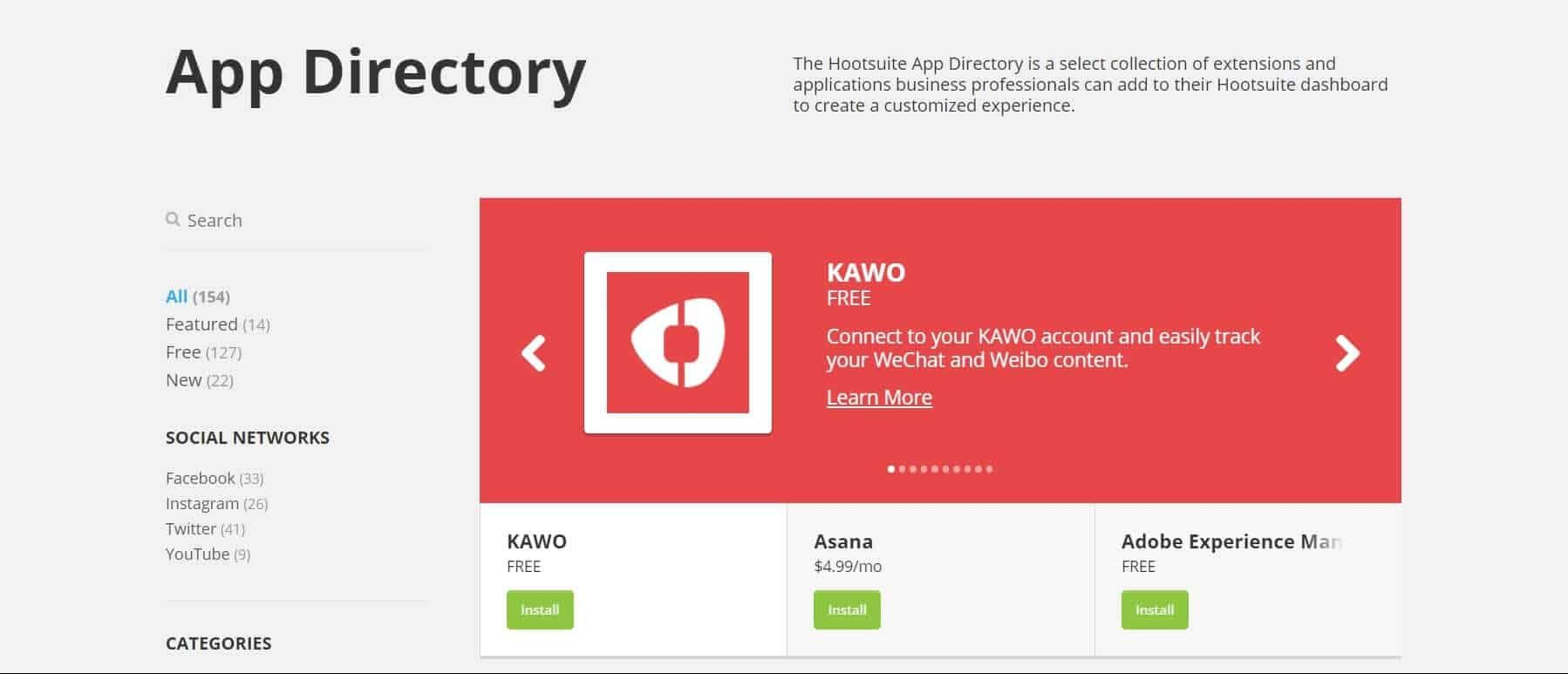 Screen della directory delle integrazioni hootsuite