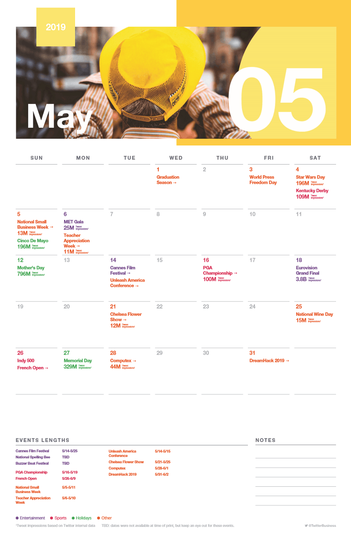 Twitter calendario eventi maggio 2019