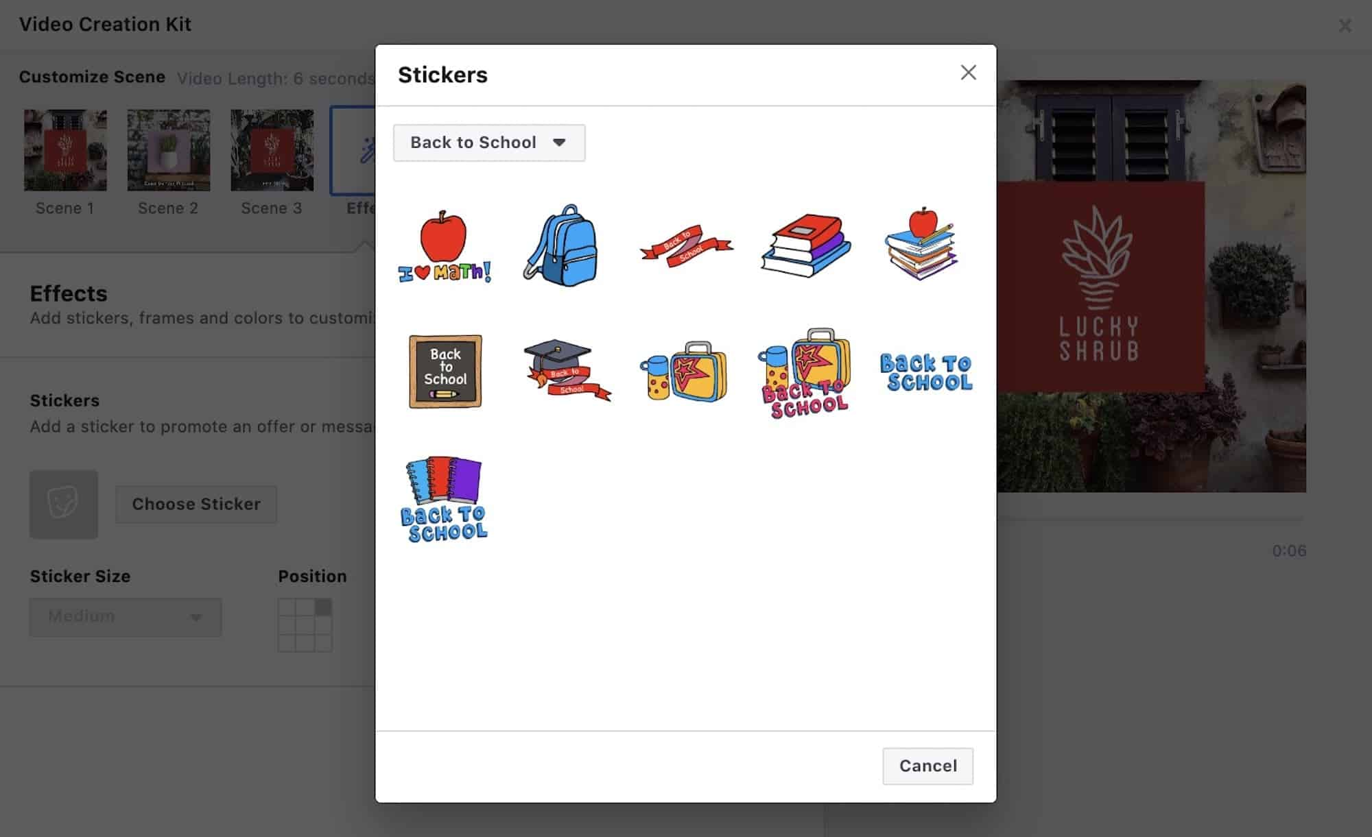 Facebook sticker ads stagionali