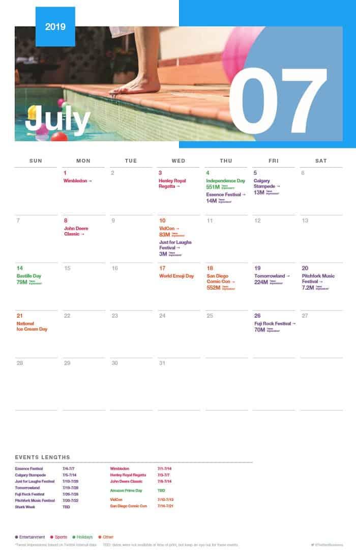 Calendario eventi di luglio Twitter