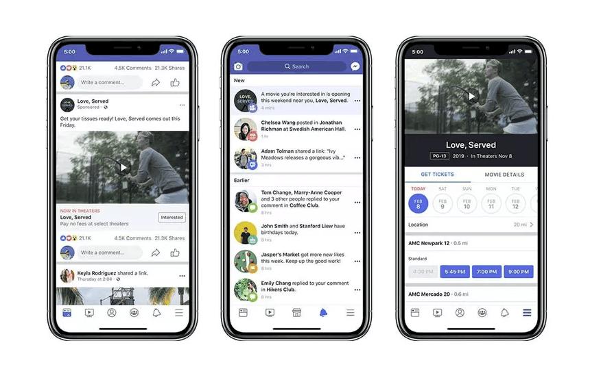 Facebook prenotazione film ads
