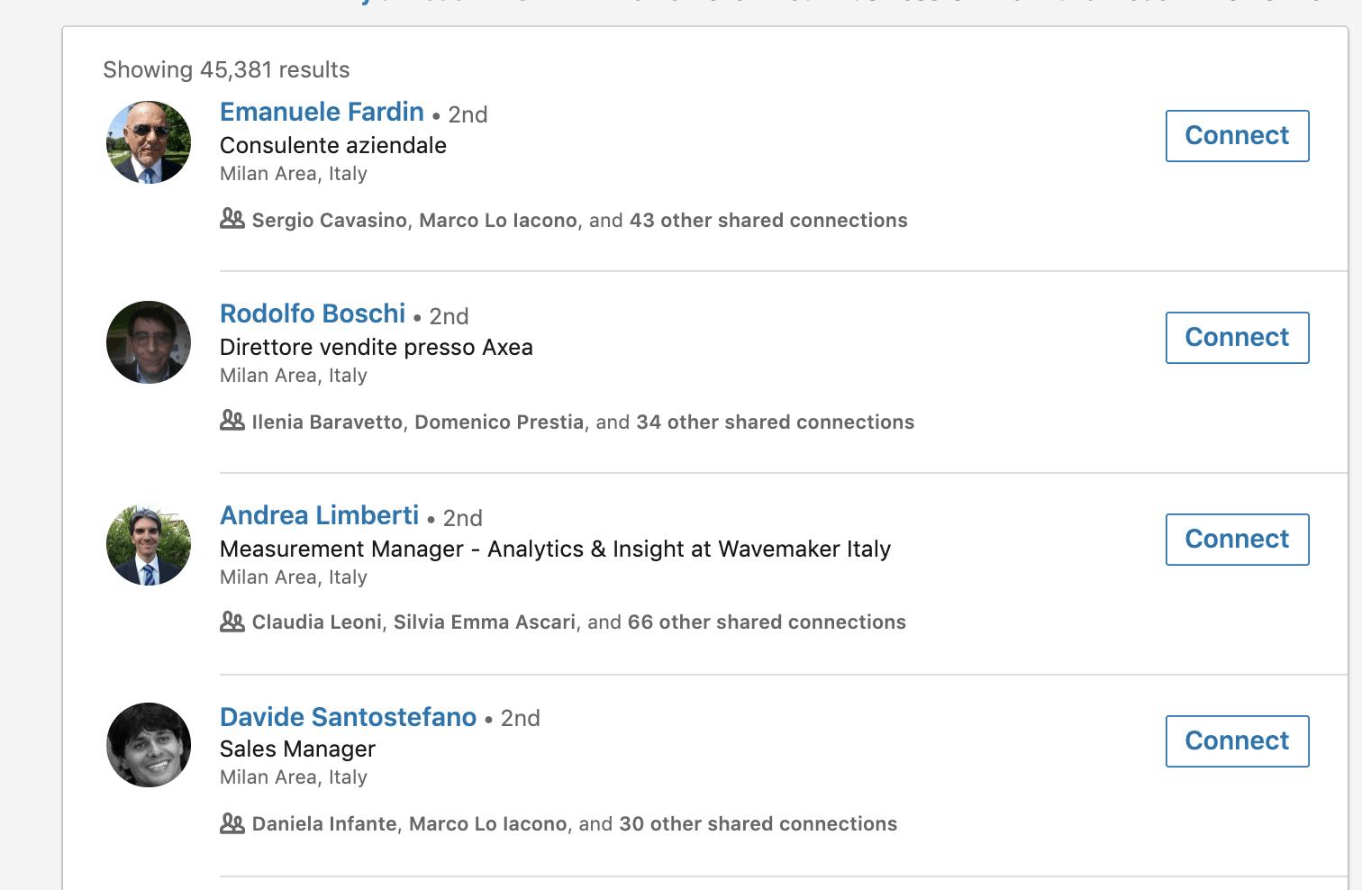 filtro linkedin per posizione lavorativa