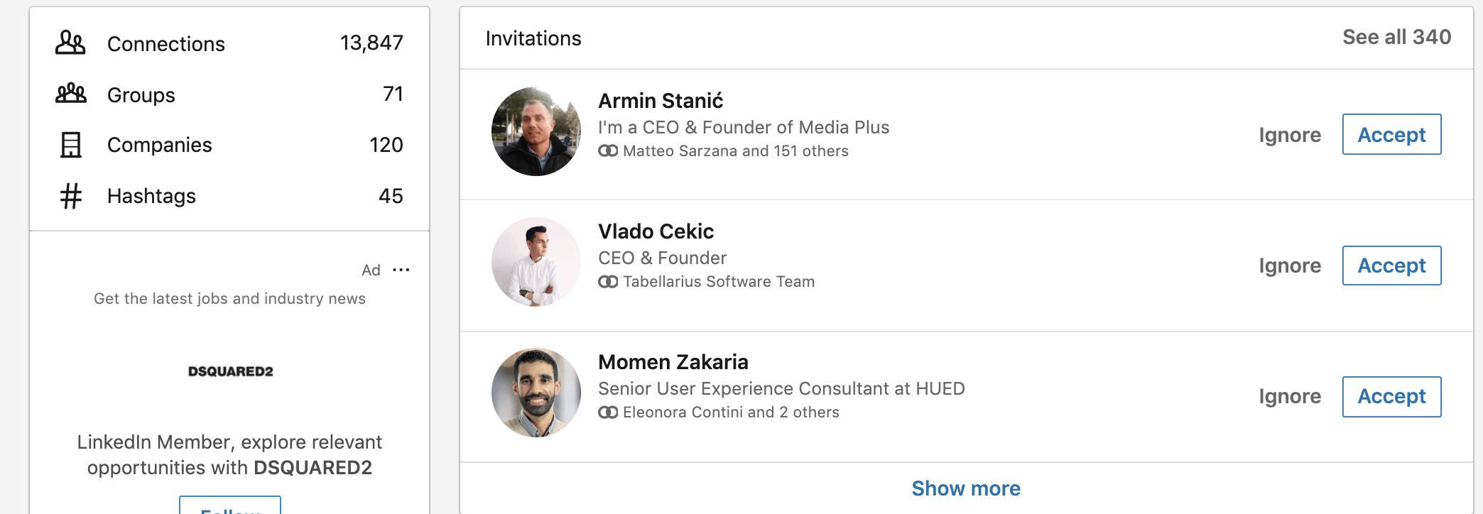 invito collegamenti linkedin