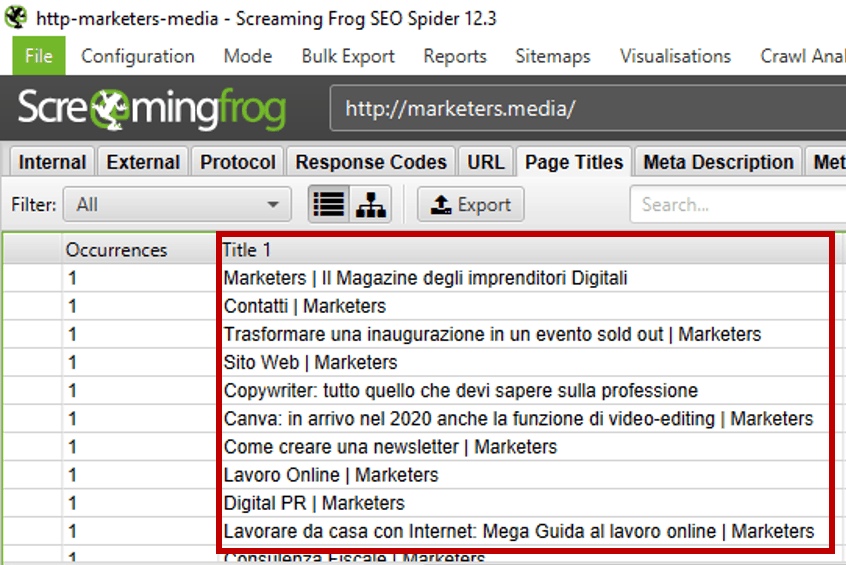 titoli di pagina screaming frog