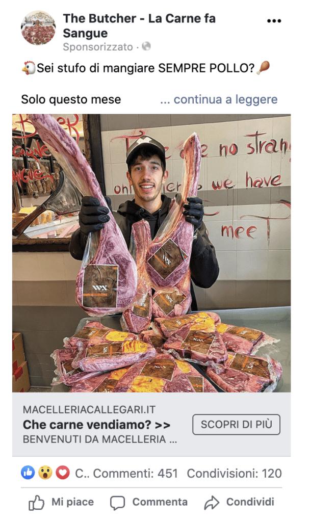 facebook ads per vendere carne